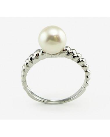 Auksinis žiedas(AU-W)_PE, Baltas auksas585, Perlai 1