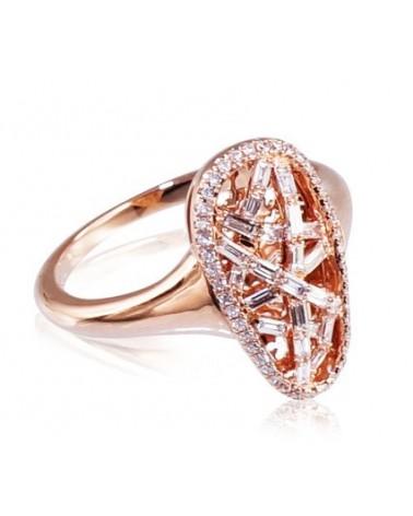 Auksinis žiedas(AU-R)_DI, Raudonas auksas585, Deimantai 1