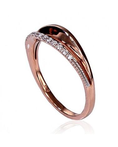 Auksinis žiedas(AU-R+PRH-W)_DI, Raudonas auksas585, rodis (padengti) , Deimantai 1