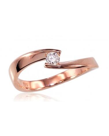 Auksinis žiedas(AU-R)_DI, Raudonas auksas585, Deimantai 0