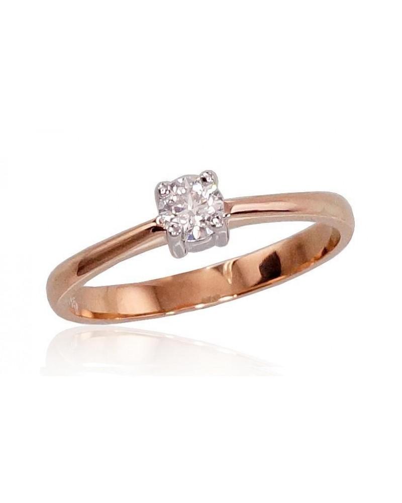 Sužadėtuvių žiedas(AU-R+PRH-W)_DI, Raudonas auksas585, rodis (padengti) , Deimantai 0