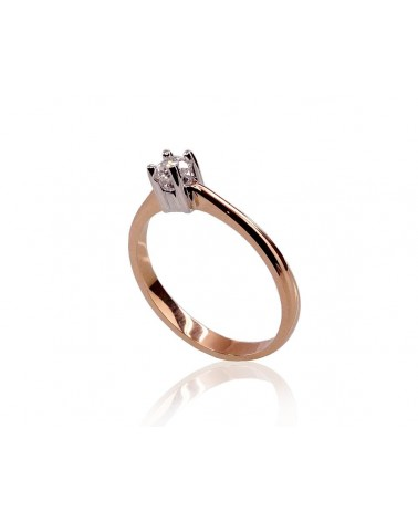 Sužadėtuvių žiedas(AU-R+PRH-W)_DI, Raudonas auksas585, rodis (padengti) , Deimantai 1
