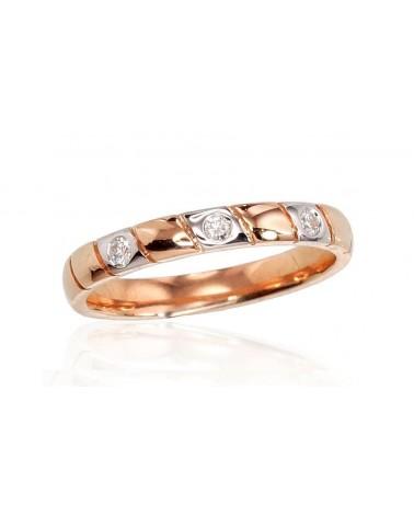 Auksinis žiedas(AU-R+PRH-W)_DI, Raudonas auksas585, rodis (padengti) , Deimantai 0