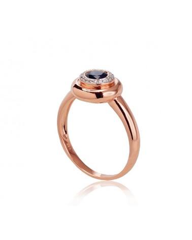 Auksinis žiedas(AU-R+PRH-W)_DI+SA, Raudonas auksas585, rodis (padengti) , Deimantai , Safyras 1