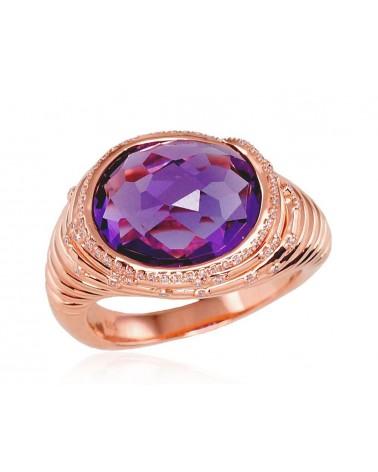 Auksinis žiedas(AU-R)_DI+AM, Raudonas auksas585, Deimantai , Ametistas 0
