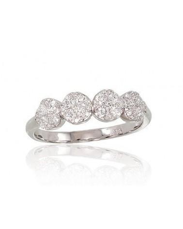 Auksinis žiedas(AU-W)_DI, Baltas auksas585, Deimantai 0