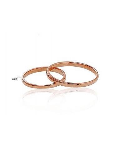 Auksinis sutuoktuvių žiedas(AU-R) (Žiedas storis 2mm), Raudonas auksas5851