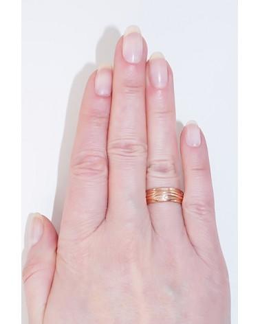 Auksinis sutuoktuvių žiedas(AU-R)_CZ (Žiedas storis 6mm), Raudonas auksas585, Cirkonai 2