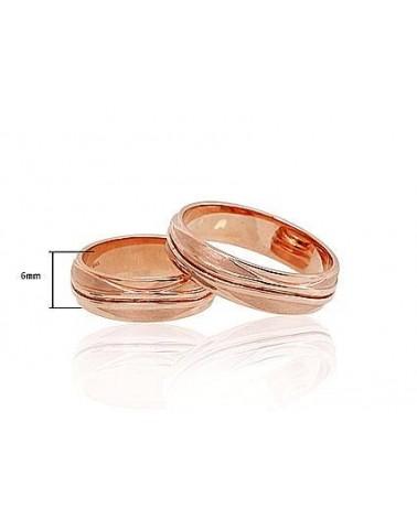 Auksinis sutuoktuvių žiedas(AU-R) (Žiedas storis 6mm), Raudonas auksas5851