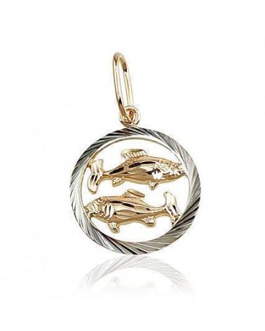 Auksinis pakabukas – zodiako ženklas(AU-R+PRH-W) (Žuvys), Raudonas auksas585, rodis (padengti) 0