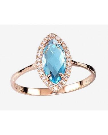 Auksinis žiedas(Au-R)_DI+TZLB, Raudonas auksas585, Briliantai , Mėlynas topazas 0