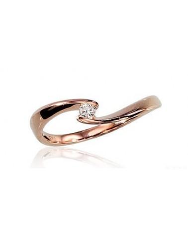 Auksinis žiedas(Au-R)_DI, Raudonas auksas585, Briliantai 0